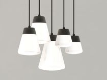 Pendant lamp / contemporary / aluminum / glass