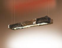 Hanging light fixture / fluorescent / rectangular / metal