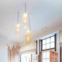 Pendant lamp / contemporary / glass / metal
