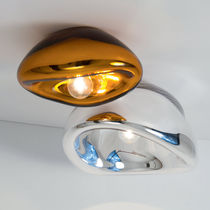 Contemporary ceiling light / glass / steel / LED