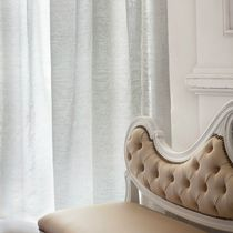 Patterned sheer curtain fabric / wool / polyester