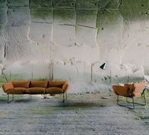 Contemporary sofa / steel / polyester fiber / fabric