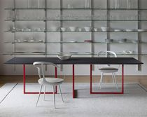 Contemporary dining table / MDF / painted steel / rectangular
