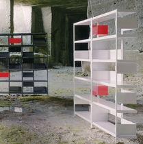 Contemporary shelf / oak / American walnut / stainless steel