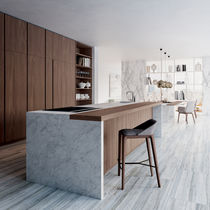 Contemporary kitchen / wood veneer / island / lacquered