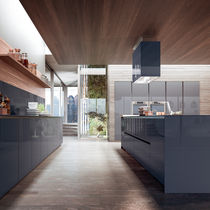 Contemporary kitchen / wooden / island / lacquered