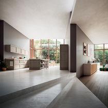 Contemporary kitchen / solid wood / oak / island