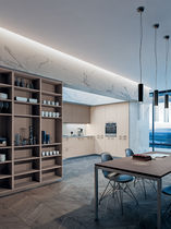 Contemporary kitchen / wood veneer / lacquered / matte