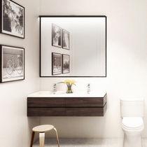 Double washbasin / wall-mounted / rectangular / wooden