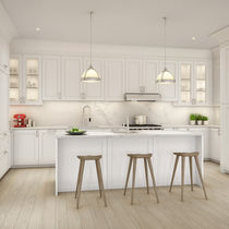 Contemporary kitchen / lacquered wood / island