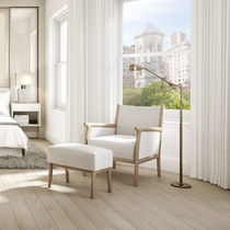 Contemporary armchair / fabric / wooden / with footrest