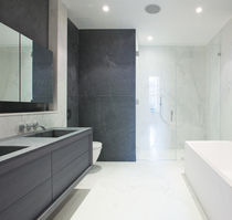 Contemporary bathroom / glass / wooden