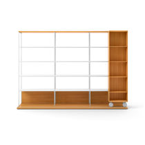 Mobile bookcase / contemporary / wooden / on casters