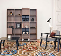 Modular bookcase / contemporary / wooden / on casters