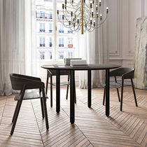Contemporary table / walnut / lacquered wood / MDF