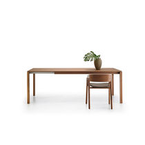 Contemporary table / oak / walnut / MDF