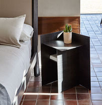 Contemporary bedside table / walnut / MDF / wood veneer