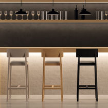 Contemporary bar chair / upholstered / with footrest / stackable