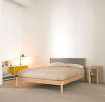 Double bed / contemporary / upholstered / wooden