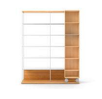 Modular bookcase / mobile / contemporary / wooden