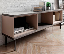 Contemporary sideboard / wood veneer / MDF / steel