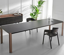 Contemporary table / walnut / solid wood / MDF