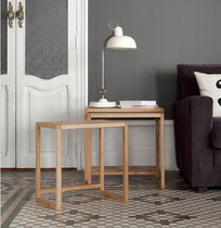 Contemporary nesting tables / oak / walnut / MDF