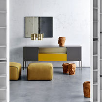 Contemporary sideboard / aluminum / sheet metal / glass