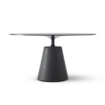 Contemporary dining table / tempered glass / cement / round
