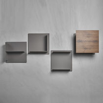 Wall-mounted shelf / contemporary / wooden / lacquered metal