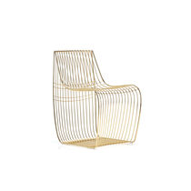 Contemporary chair / with removable cushion / steel / wire
