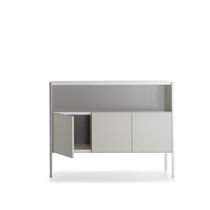 Contemporary sideboard / sheet metal / with shelf / with glass panel