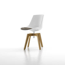 Contemporary dining chair / star base / upholstered / sled base