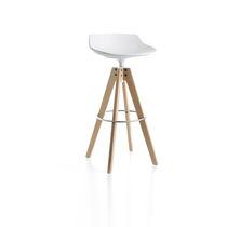Contemporary bar stool / oak / steel / polyurethane