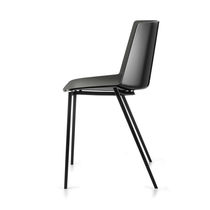 Contemporary chair / with armrests / stackable / sled base