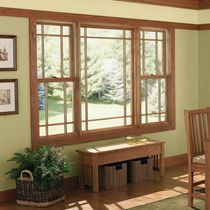 Sash window / wooden / fiberglass / double-glazed