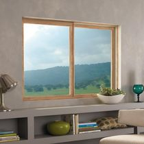 Sliding window / wooden / fiberglass / double-glazed