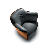 Contemporary armchair / fabric / leather / swivel