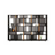 Contemporary bookcase / wood veneer / leather / HPL