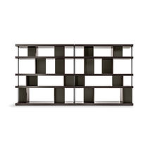 Contemporary bookcase / MDF / wood veneer / leather