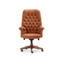 Traditional executive chair / leather / walnut / aluminum