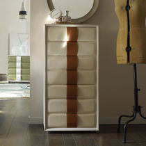 Contemporary chiffonier / wood veneer / leather / white