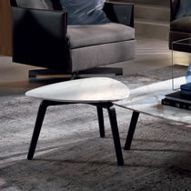 Coffee table / contemporary / leather / marble