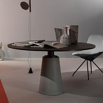 Round table / contemporary / stone / sheet steel