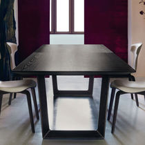 Dining table / contemporary / wood veneer / marble