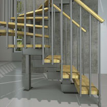 Quarter-turn staircase / half-turn / wooden steps / metal frame
