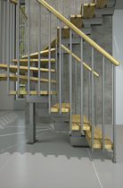Half-turn staircase / quarter-turn / wooden steps / metal frame