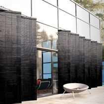 Wooden solar shading / for facades / vertical / swiveling