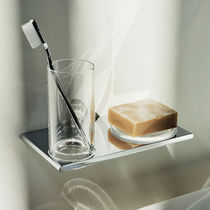 Wall-mounted shelf / contemporary / glass facing / for bathrooms