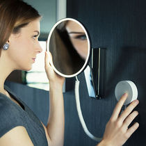 Wall-mounted mirror / contemporary / round / LED-illuminated